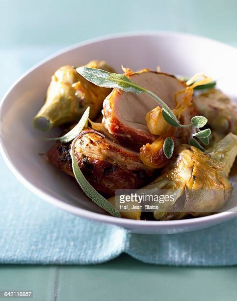 Roast Filet Mignon with artichokes and sage