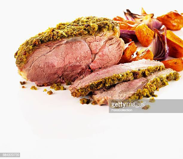 Roast lamb with pesto chili crust