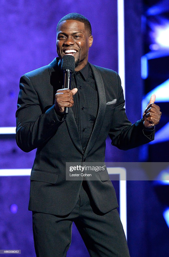 Roast master Kevin Hart speaks onstage at The Comedy Central Roast of Justin Bieber at Sony Pictures Studios on March 14 2015 in Los Angeles...