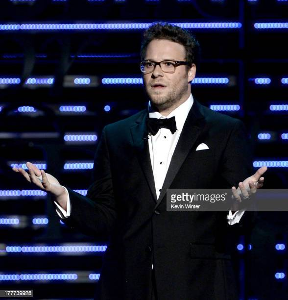 Roast Master Seth Rogen speaks onstage during The Comedy Central Roast of James Franco at Culver Studios on August 25 2013 in Culver City California...