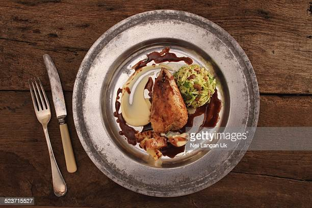 Roast partridge plated meal