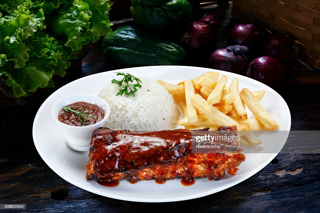 roast ribs with barbecue sauce : Stock Photo