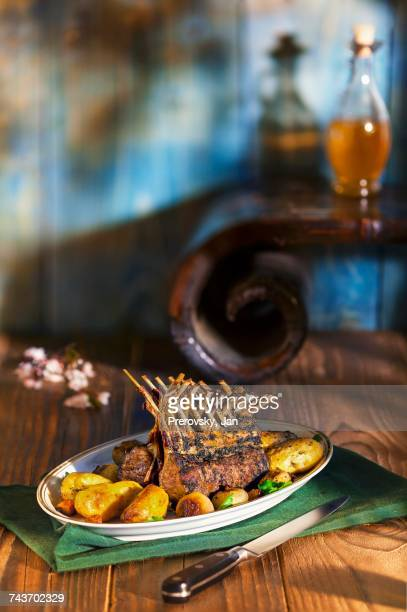 Roast saddle of lamb with roast potatoes