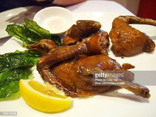 Roast squab with fried leaves