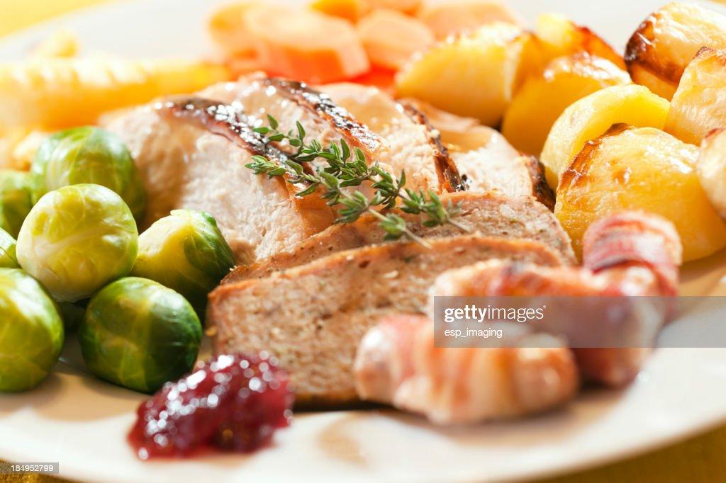 Roast Turkey Dinner Sunday Lunch or Christmas : Stock Photo