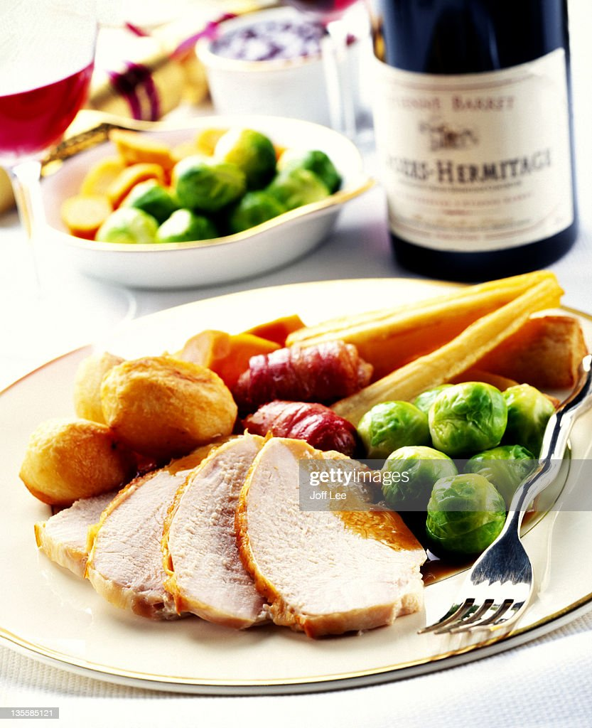 Roast turkey dinner with vegetables