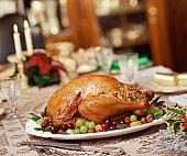 Roast turkey on dinner table