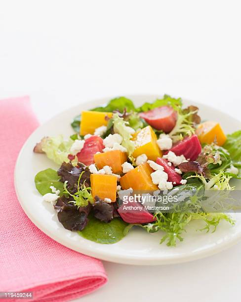 Roasted baby beet salad with goat cheese and green