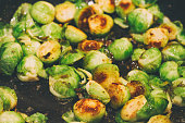 Roasted Brussels sprouts in a pan, close up