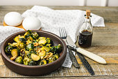 Roasted Brussels sprouts with onions and walnuts.