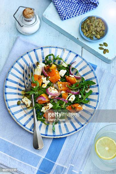 Roasted butternut squash and feta cheese salad