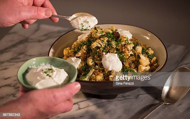 CALCOOK Roasted cauliflower with freekeh is photographed in the Los Angeles Times studio on February 25 2015 in Los Angeles California