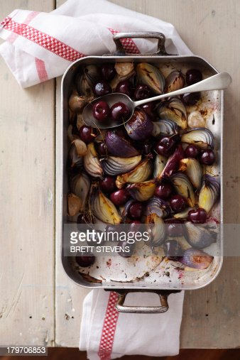 Roasted cherries, red onions, garlic and thyme