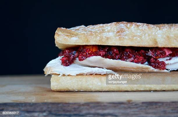 Roasted chicken and cranberry orange relish baguette sandwich