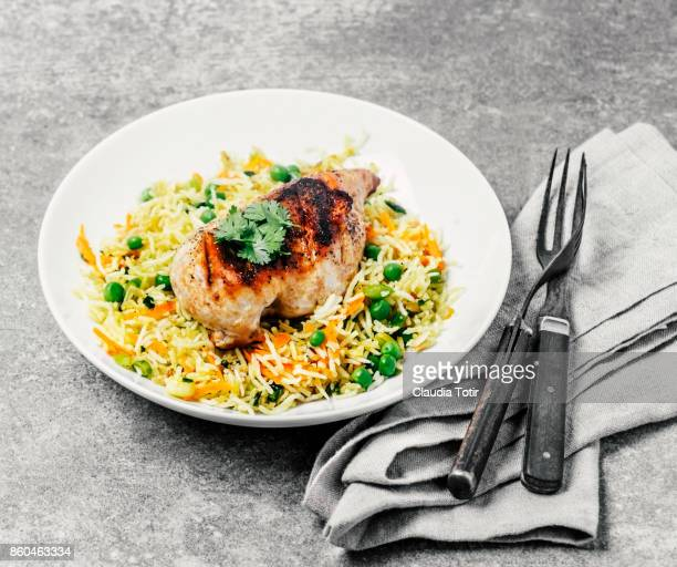 Roasted chicken breast with rice
