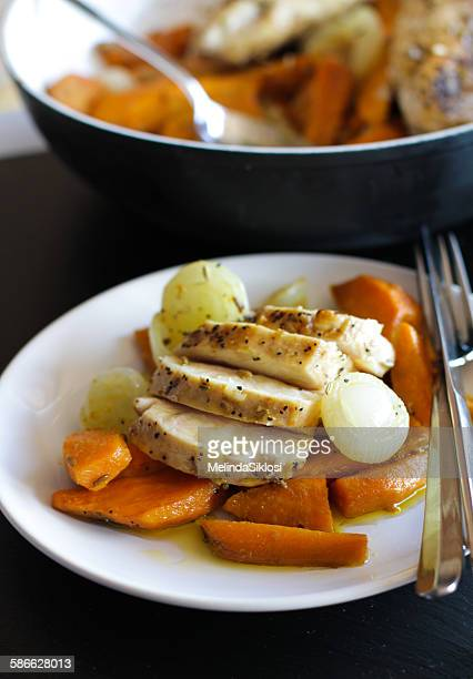 Roasted chicken breast with sweet potato and onion