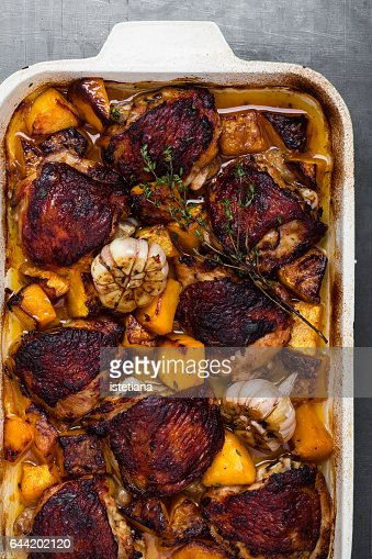 Roasted chicken thighs with butternut and thyme