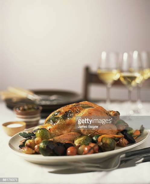 Roasted chicken with brussels sprouts