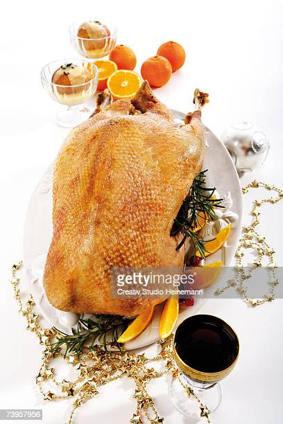 Roasted Christmas goose, elevated view