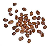 Roasted coffee beans, isolated on white background. Close-up shot of delicious arabica beans, pile or group of objects, cut out.