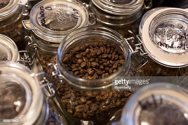 Roasted coffee beans sit in jars at the Terarosa Coffee shop in Seoul South Korea on Tuesday Feb 4 2014 South Korea is Asias fastestgrowing market...