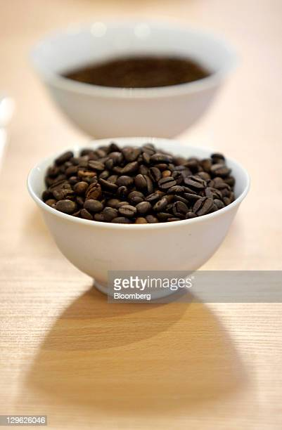 Roasted coffee grains sit on display at Nestle's new Nescafe freezedried coffee factory in Timashevsk Russia on Tuesday Oct 18 2011 Nestle plans to...