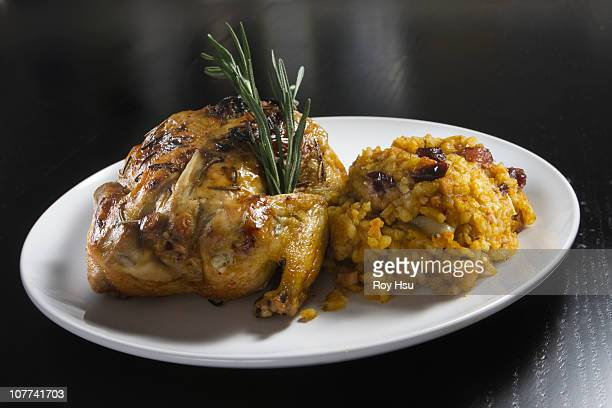 Roasted cornish hen with side of pumpkin risotto
