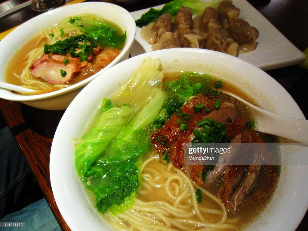 Roasted duck noodle soup : Stock Photo