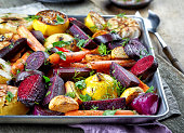 Various roasted fruits and vegetables