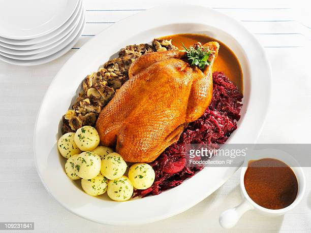 Roasted goose garnished with red cabbage and dumplings