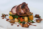A roasted Pheasant breast on seasonal vegetables and served with a red wine jus.