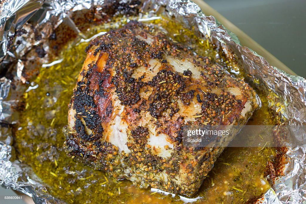 Roasted pork with spices. : Stock Photo
