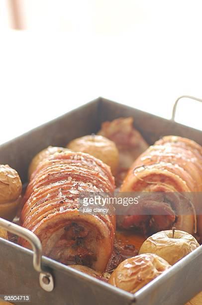 Roasted rolled pork belly