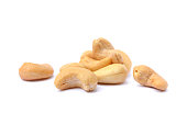 Roasted salted cashews isolated on a white background
