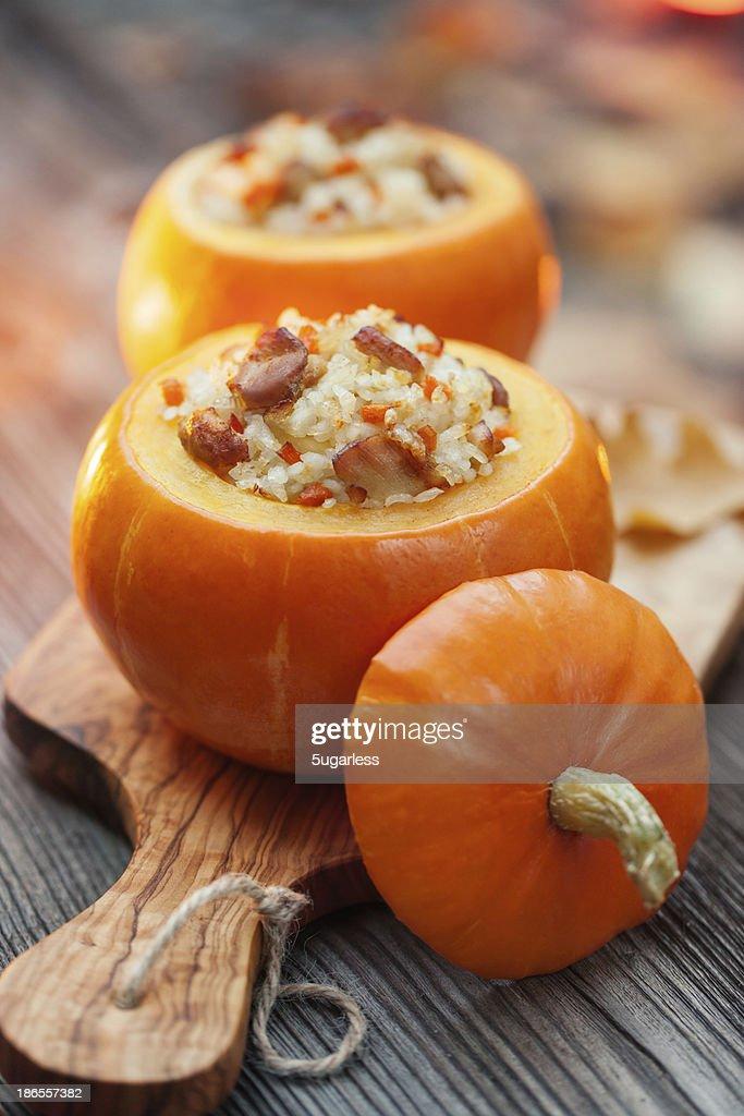 Roasted stuffed pumpkins