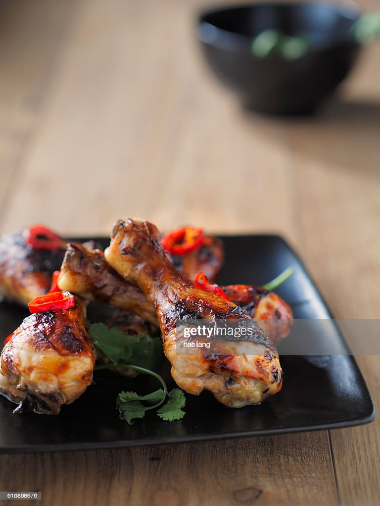roasted teriyaki chicken drumsticks : Stock Photo