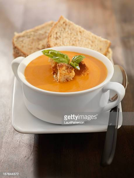 Roasted Tomato and Basil Bisque with a Sandwich