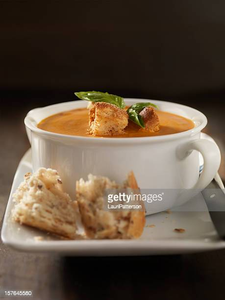 Roasted Tomato and Basil Bisque with Crusty Bread