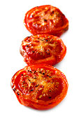 Roasted tomatoes isolated on white background.
