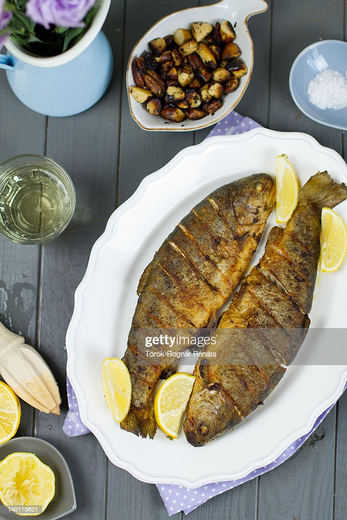 Roasted trout on plate : Stock Photo