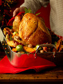 Roasted Turkey and Vegetables in Roasting Pan