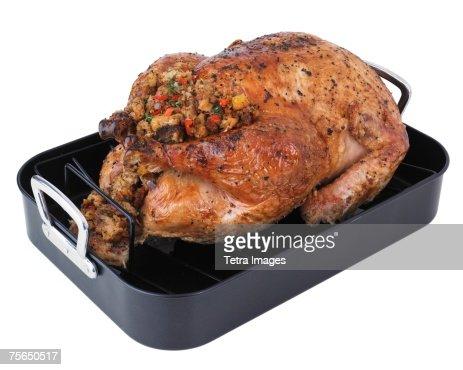 Roasted turkey in pan