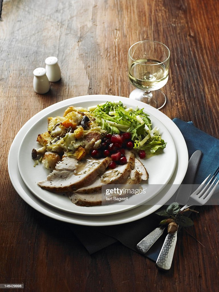 Roasted Turkey w/Mushroom and Butternut Squash : Stock Photo