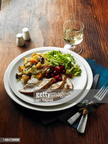 Roasted Turkey w/Mushroom and Butternut Squash : Stock Photo