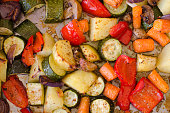 Roasted vegetables fresh out of the oven