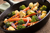 Fresh Vegetables Roasted in a Cast Iron Skillet.