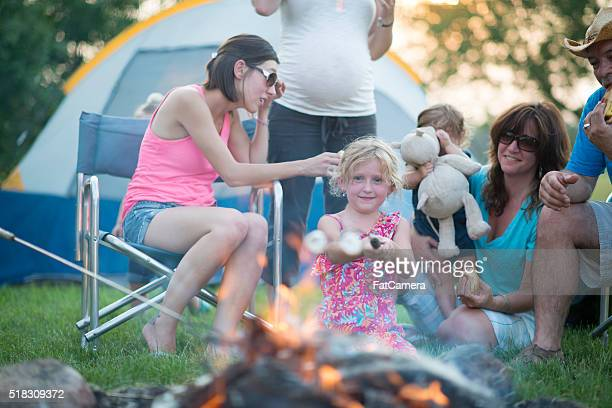 Roasting Marshmallows Together at the Campfire