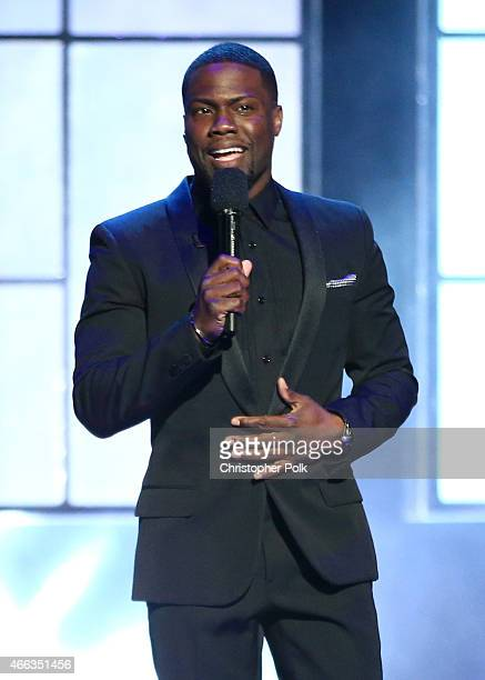 Roastmaster Kevin Hart speaks onstage at The Comedy Central Roast of Justin Bieber at Sony Pictures Studios on March 14 2015 in Los Angeles...