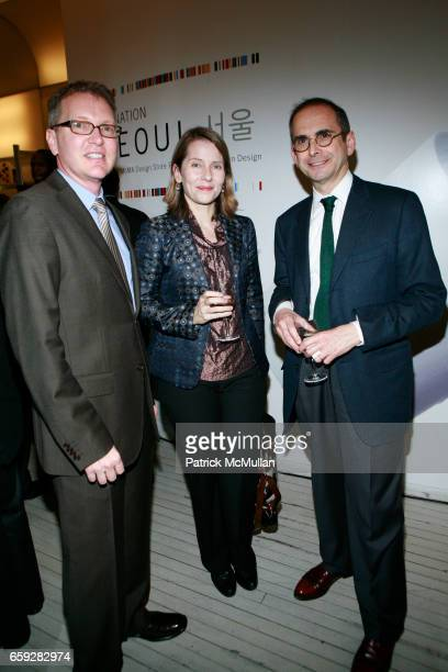Rob Anderson Paola Antonelli and Jay Levenson attend MUSEUM OF MODERN ART and HYUNDAICARD Celebrate The Launch of DESTINATION SEOUL at MoMa Design...
