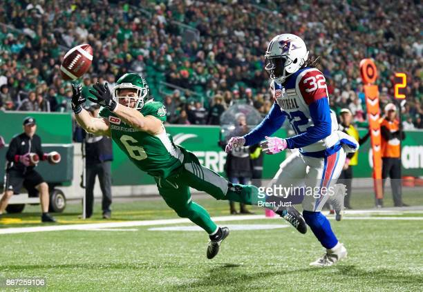 Rob Bagg of the Saskatchewan Roughriders just misses making a diving catch in the end zone behind the coverage of Tevaughn Campbell in the first half...